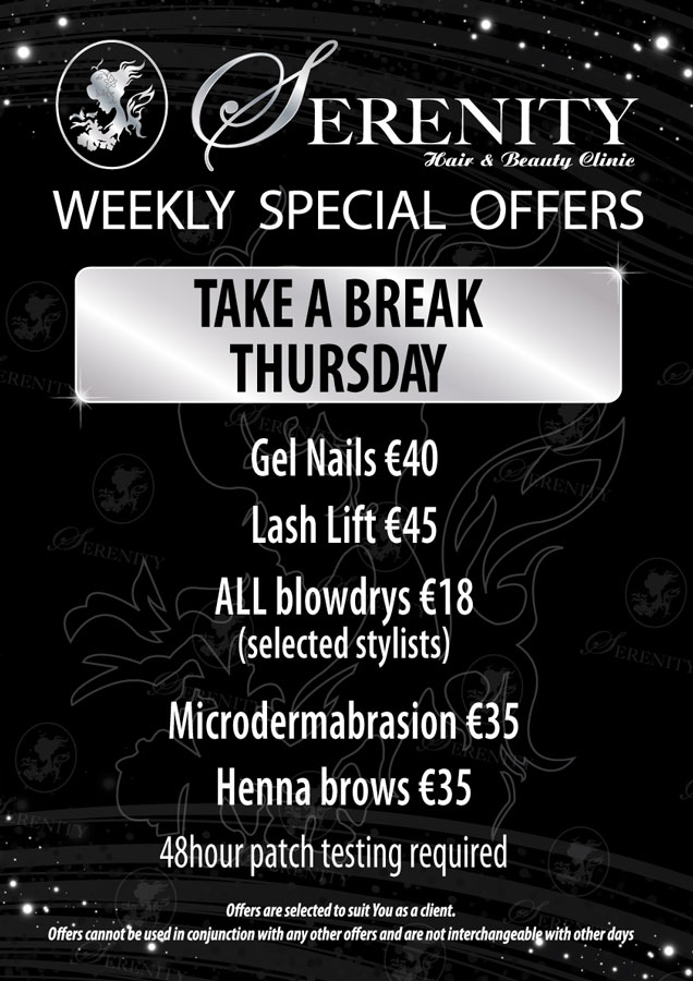 Serenity Hair and Beauty Clinic Thursday Special offer